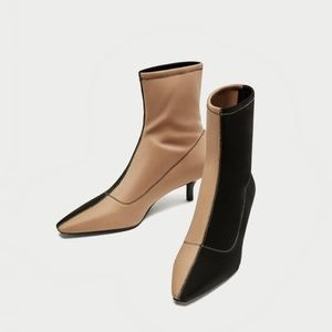 Zara Two Tone Ankle Booties